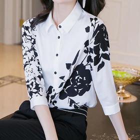 HT1101新款时尚气质撞色印花短袖衬衣TZF