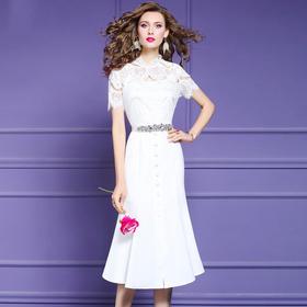 FMY30737新款时尚气质修身开叉蕾丝拼接短袖连衣裙TZF