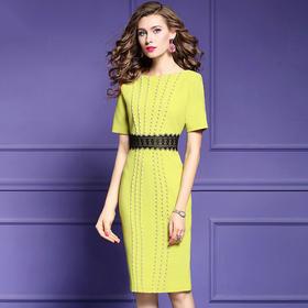 FMY29979新款时尚气质收腰显瘦短袖开叉钉珠连衣裙TZF
