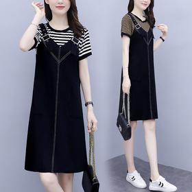 YHSS327新款时尚气质宽松条纹拼接假两件口袋连衣裙TZF