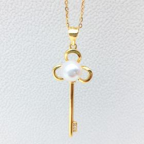 天然淡水珍珠项链  S925银T家钥匙韩版