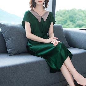 XFFS0828新款优雅气质收腰显瘦短袖V领连衣裙TZF