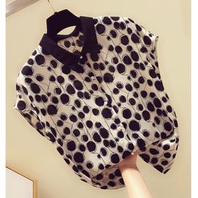 DMY-D8512新款时尚优雅气质短袖波点雪纺衫TZF