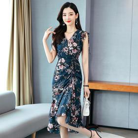 HRFS-WJ20159新款时尚气质修身显瘦印花不规则连衣裙TZF