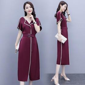 HRFS-WB15079新款时尚气质收腰系带显瘦V领连衣裙TZF