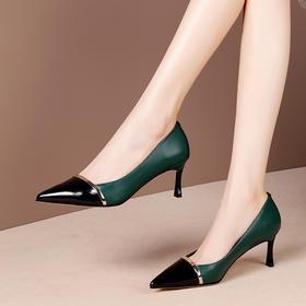 OLD-A244新款时尚拼色尖头百搭细高跟鞋TZF
