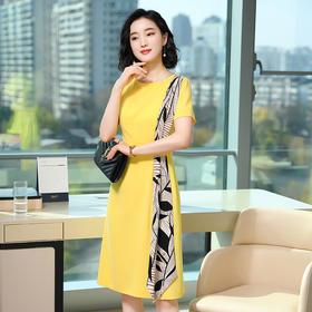 SRSFZ-YJF8750新款黄色气质时尚连衣裙TZF