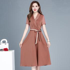 YWE-LTT9020新款优雅气质修身显瘦短袖中长款连衣裙TZF