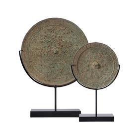 纯铜仿古镜圆铜镜龙纹加托大镜子工艺品摆件软装饰品中式