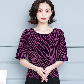 AHM-dydd2027新款时尚优雅气质条纹短袖圆领雪纺衫TZF