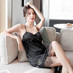WDF903新款时尚优雅性感拼接蕾丝吊带睡裙TZF