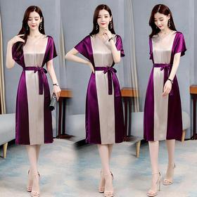 CQ-BY06116新款优雅气质收腰显瘦短袖V领中长款连衣裙TZF