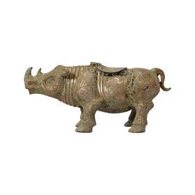 仿古汉代犀牛仿真动物中式软装饰品室内摆件礼品青铜器