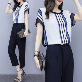 RWQFZ519新款时尚洋气条纹雪纺衫七分裤两件套TZF