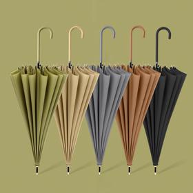 新款16骨优雅莫兰迪色系素色直杆伞小清新长柄雨伞 高密 拒水 抗风
