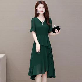 YWE-XQD-GL210新款优雅气质修身显瘦短袖中长款雪纺连衣裙TZF