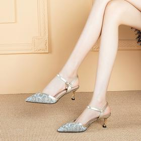 OLD-A113-2新款时尚尖头水钻一字扣带百搭高跟凉鞋TZF