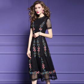 FMY30033新款优雅气质收腰显瘦短袖蕾丝绣花中长连衣裙TZF