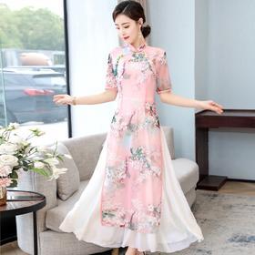 HT6009新款中国风优雅气质修身立领印花连衣裙TZF