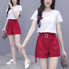 RWQFZ6015新款时尚气质短袖T恤休闲短裤两件套TZF