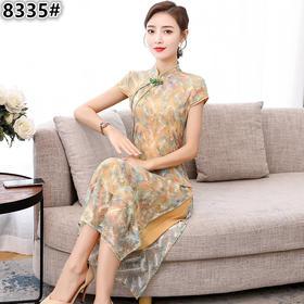 HT8335新款中国风优雅气质修身立领蕾丝印花中长款旗袍裙TZF