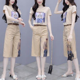 RWQFZ-6282新款时尚气质印花T恤休闲阔腿裤两件套TZF