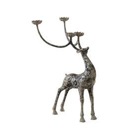 错银鹿蜡台动物摆件新中式