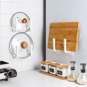 摩登主妇免打孔墙上收纳置物架壁挂式锅盖菜板砧板卷纸厨房支架子