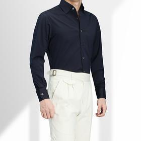 尊轩夏装一片领针织T恤面料长袖休闲纯色衬衫