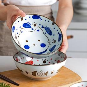 摩登主妇小馋猫日式餐具碗家用单个汤碗饭碗面碗大碗可爱少女心