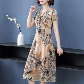 MQ-FHSQ99168新款时尚优雅气质修身显瘦V领短袖印花连衣裙TZF