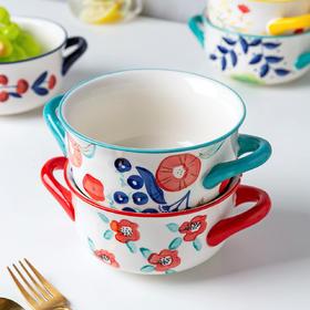 摩登主妇陶瓷双耳碗单个面碗创意个性泡面汤碗学生宿舍家用碗餐具