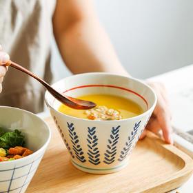 摩登主妇日式斗笠碗单个饭碗陶瓷面条碗汤碗创意个性餐具高脚碗