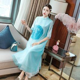 FNZD2087新款中国风优雅气质宽松立领刺绣连衣裙TZF