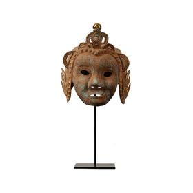 仿古青铜头盔护具青铜器摆件工艺品桌面摆件软装饰品镀金