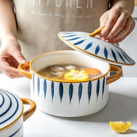 摩登主妇青瑶日式餐具双耳汤碗单个家用陶瓷面碗大号汤盆带盖创意