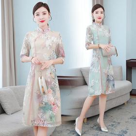 AHM-zne9295新款中国风优雅气质修身立领拼接印花连衣裙TZF