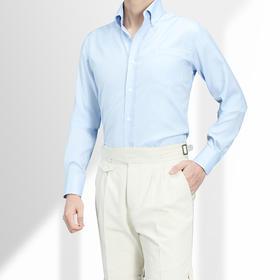 高唯 白色/蓝色80支牛津纺美式衬衫