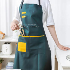 摩登主妇皮革围裙家用厨房防水防油工作服炒菜用时尚做饭罩皮围腰