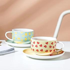 摩登主妇可爱少女心水果咖啡杯带碟子陶瓷家用下午茶茶杯茶具套装