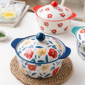 摩登主妇双耳汤碗带盖大号面碗创意泡面碗汤盆陶瓷个性家用碗餐具