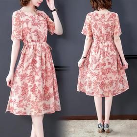 AHM-ybb6723新款时尚气质抽绳收腰显瘦短袖圆领印花连衣裙TZF
