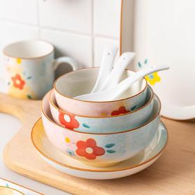 摩登主妇向阳花碗碟套装饭碗可爱少女心汤面碗餐盘子家用日式餐具