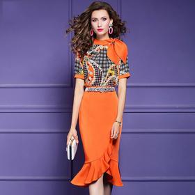 FMY30245新款时尚优雅气质拼接收腰显瘦印花短袖连衣裙TZF