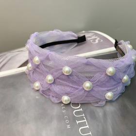 FPSP-B069新款时尚气质蕾丝菱形纹珍珠宽发箍TZF