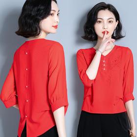 XFFS8630新款时尚宽松七分袖百搭绣花雪纺衫TZF