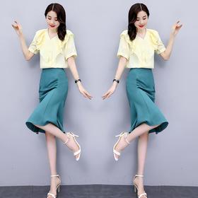 HRFS-WH20669新款时尚气质V领短袖上衣半身裙两件套TZF