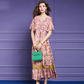 FMY30761新款时尚优雅气质收腰显瘦V领桑蚕丝印花连衣裙TZF