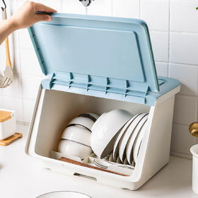 摩登主妇厨房碗架碗筷收纳盒放碗碟沥水装碗箱餐盘置物架家用碗柜