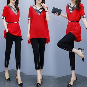 YHSS61056新款时尚宽松拼色V领短袖T恤九分裤两件套TZF